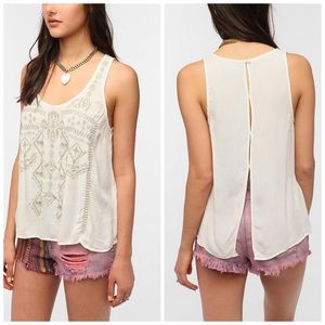 UO Ecote Split Back Embroidered Tank Top